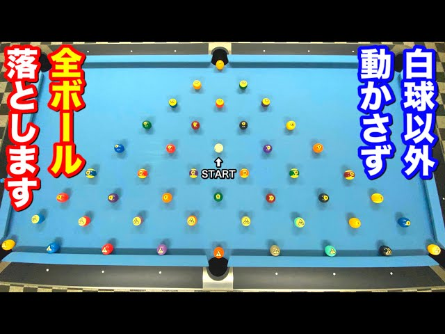 【ビリヤードチャレンジ】他のボールを動かさないように全てのボールをノーミスで落とせるかやってみた!! Pool Practice Drill.