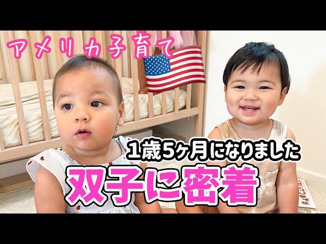 【双子育児】1歳5ヶ月になりました♡出来ること、発語も増えました♫アメリカ子育て|バイリンガル育児|3児ママ|国際結婚