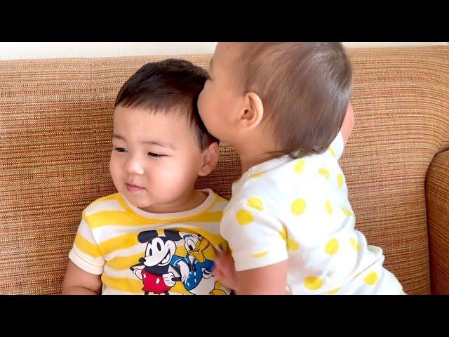 【双子育児】双子の姉の愛が強すぎる...♡ 二卵性双生児|アメリカ子育て|3児ママ|国際結婚