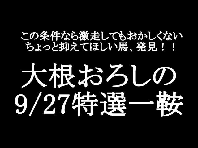 【競馬予想】9月26の特選一鞍【大根おろし】