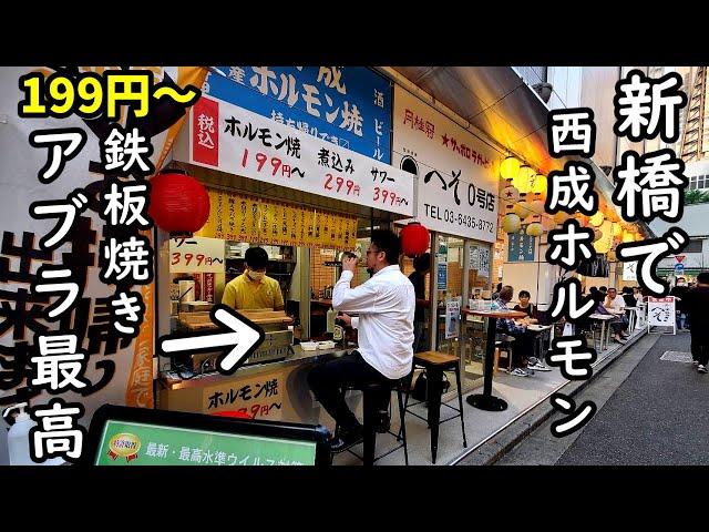 新橋で199円西成アブラホルモン1人飲み【へそ0号店】アブラとビール最高